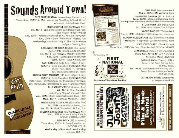 Sounds Around Town in Clarksdale week starting Thursday, October 13, 2016.