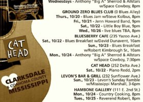 Sounds Around Town in Clarksdale week starting Thursday, October 20, 2016.