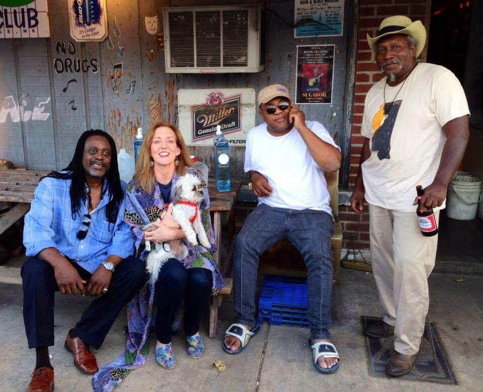 Riley, Magical Madge, Dandy, Red Paden, Dingo in front of Red's Lounge in Clarksdale