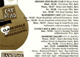 Sounds Around Town in Clarksdale week starting Thursday, October 27, 2016.