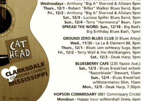Sounds Around Town in Clarksdale week starting Thursday, December 2, 2016.