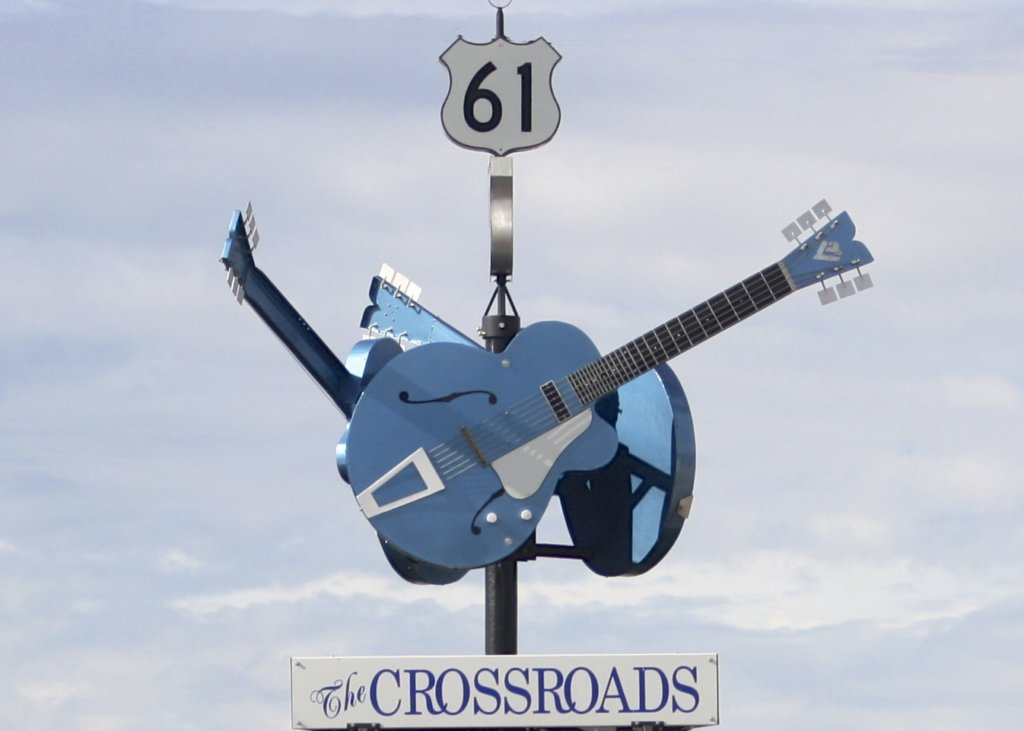 The Crossroads sign in Clarksdale