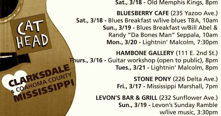 Sounds Around Town in Clarksdale week starting Thursday, March 16, 2017.