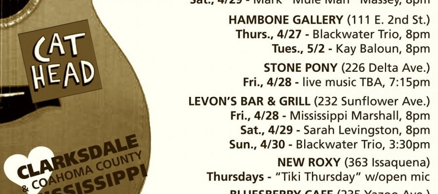 Sounds Around Town in Clarksdale week starting Thursday, April 27, 2017.