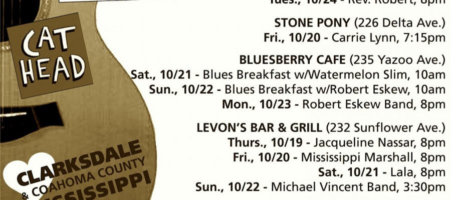 Sounds Around Town in Clarksdale week starting Thursday, October 19, 2017.