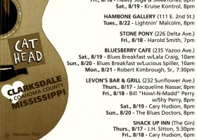 Sounds Around Town in Clarksdale week starting Thursday, August 17, 2017.