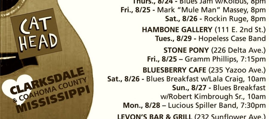 Sounds Around Town in Clarksdale week starting Thursday, August 24, 2017.