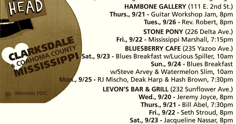 Sounds Around Town in Clarksdale week starting Thursday, September 21, 2017.