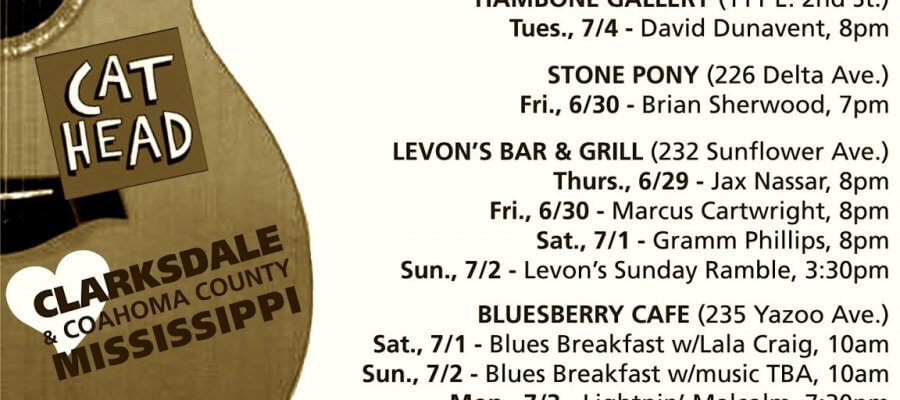 Sounds Around Town in Clarksdale week starting Thursday, June 29, 2017.