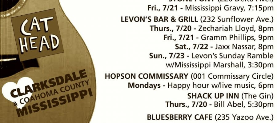 Sounds Around Town in Clarksdale week starting Thursday, July 20, 2017.