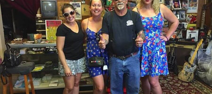 Stephanie Cummings, Jayme Erickson, Deak Harp and Karla Burke (bride) at his shop in Clarksdale after he gave them an impromptu performance