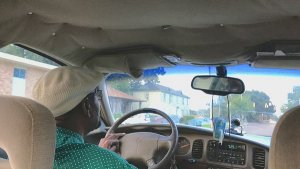 Clarksdale Taxi Cab Driver Roosevelt Noah driving his Jolly Cab