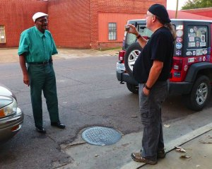 Clarksdale Taxi Cab Driver Roosevelt Noah, owner of Jolly Cab, being interviewed by Chilly Billy Howell