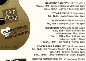 Sounds Around Town in Clarksdale week starting Thursday, December 7, 2017.