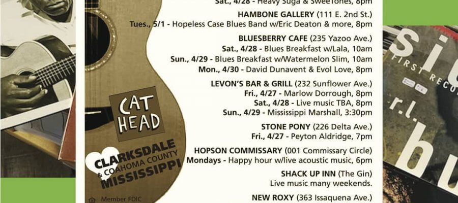 Sounds Around Town in Clarksdale week starting Thursday April 26, 2018.