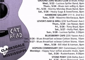 Sounds Around Town in Clarksdale week starting Thursday May 24, 2018.