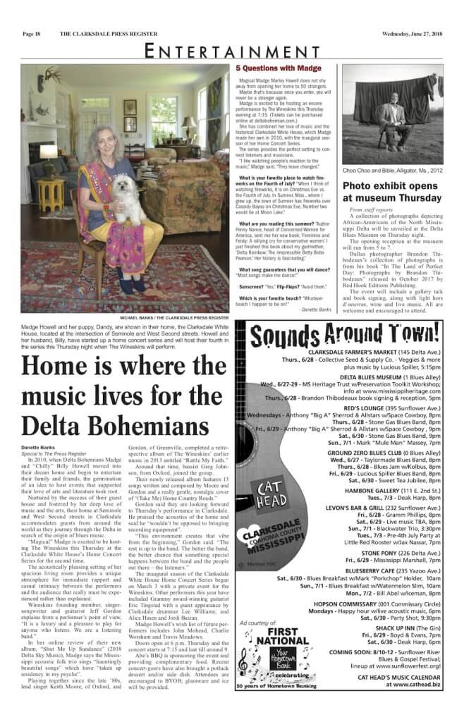 Clarksdale Entertainment Section in the Press Register