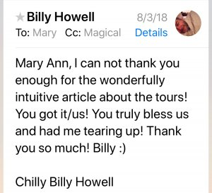Billy's email to Mary Ann DeSantis with DeSoto Magazine