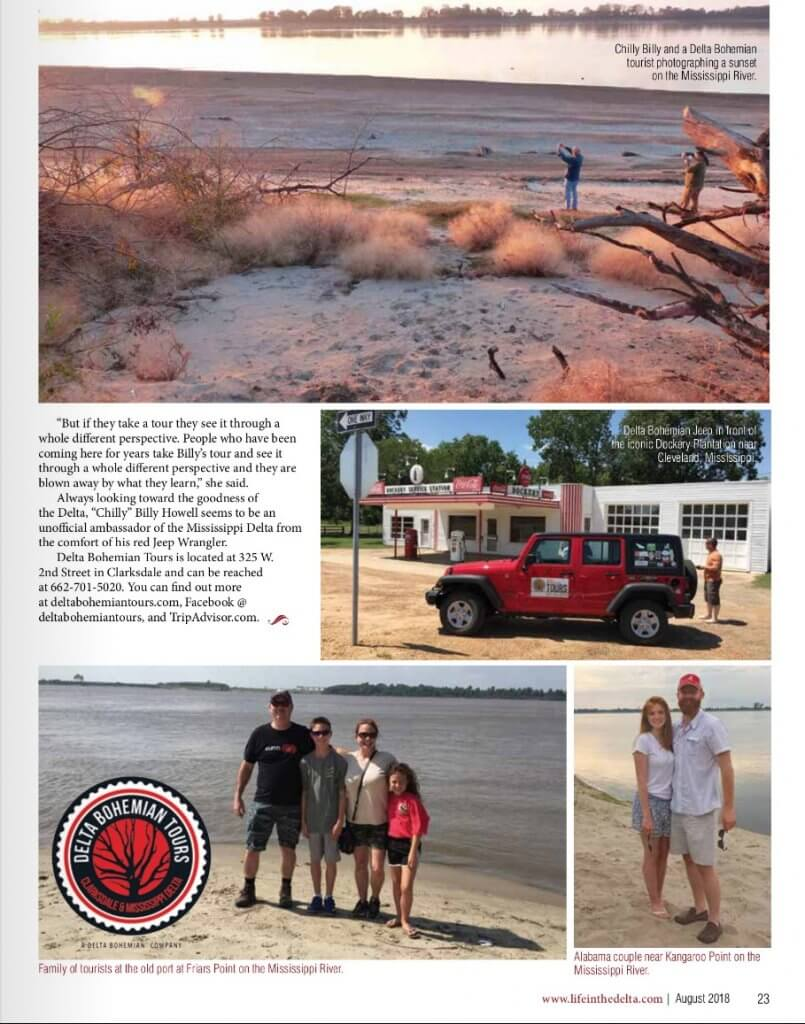 Life in the Delta Magazine Delta Bohemian Tours article