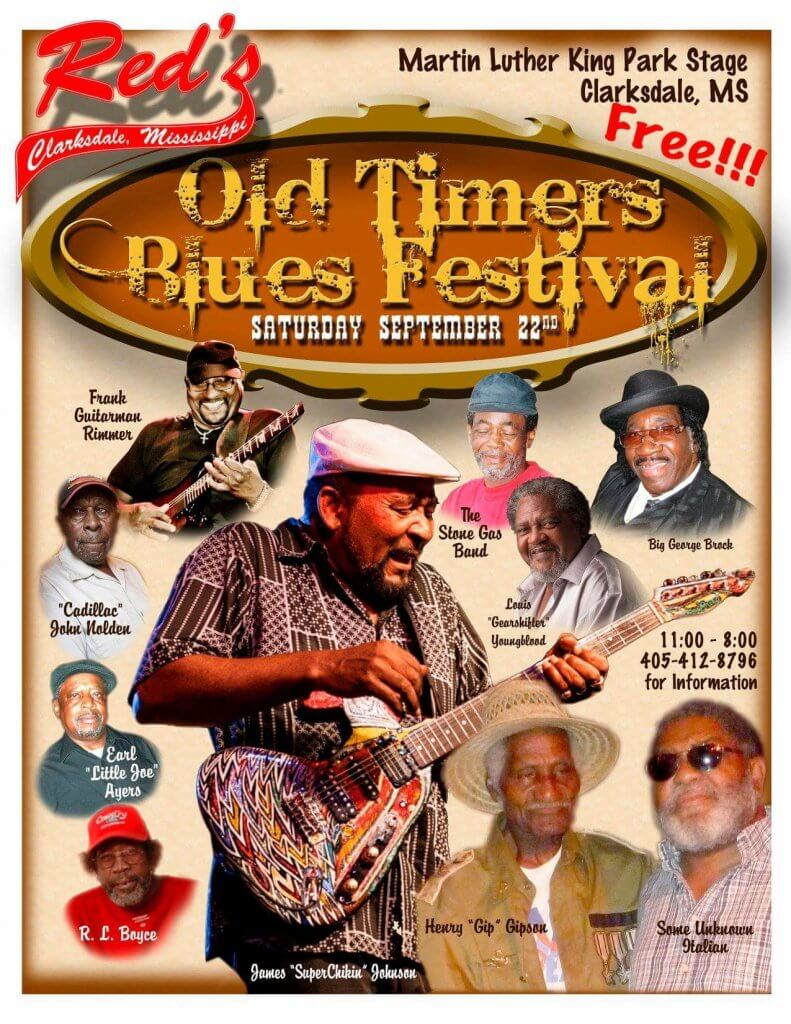 Red's Old Timers Blues Festival Poster Sounds Around Town in Clarksdale