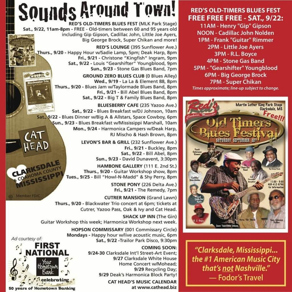 Sounds Around Town in Clarksdale starting Wednesday, September 19, 2018.