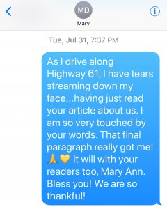 Text to Mary Ann DeSantis with DeSoto Magazine