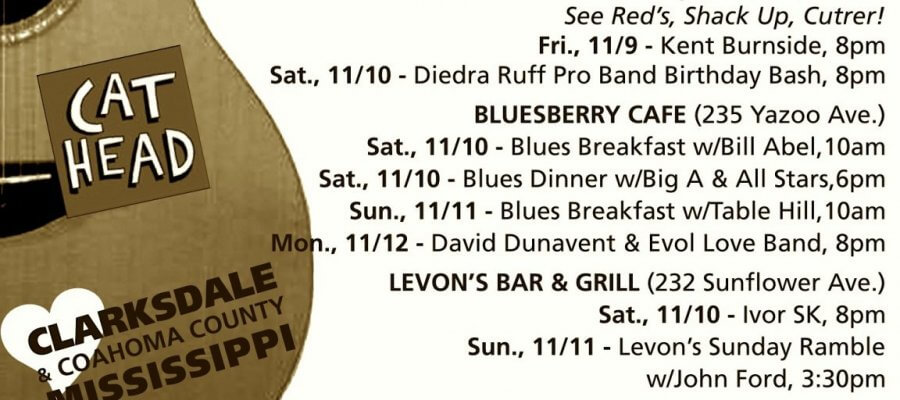 Sounds Around Town in Clarksdale starting Wednesday, November 7, 2018.
