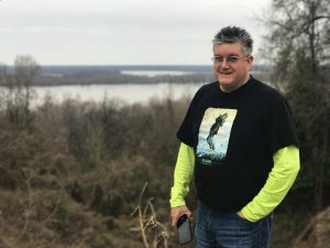 Visit Natchez - Chilly Billy viewing the Mississippi River from a bluff