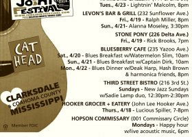 Sounds Around Town in Clarksdale updated every Wednesday