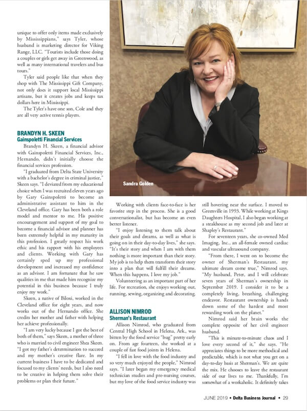 DBJ profiles seven Delta women in business - pictured Sandra Golden