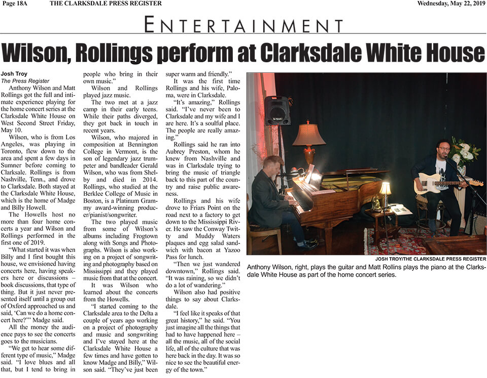 Josh Troy Wilson Rollings perform at Clarksdale White House