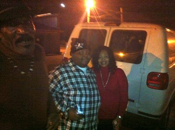 Kingfish outside Red's Lounge with Ellis Coleman and his mother, the late Princess Pride. January 15, 2012